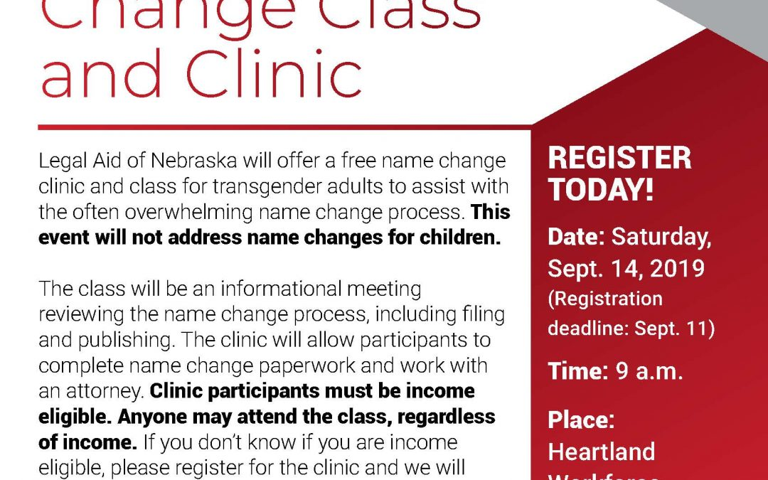 Name Change Class and Clinic Sept. 14